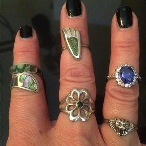 Bundle of sterling silver rings